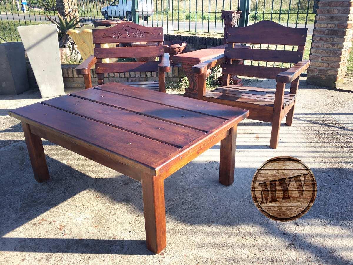 Juego de jardin sillones mesa madera descanso patio for Sillones de patio de madera