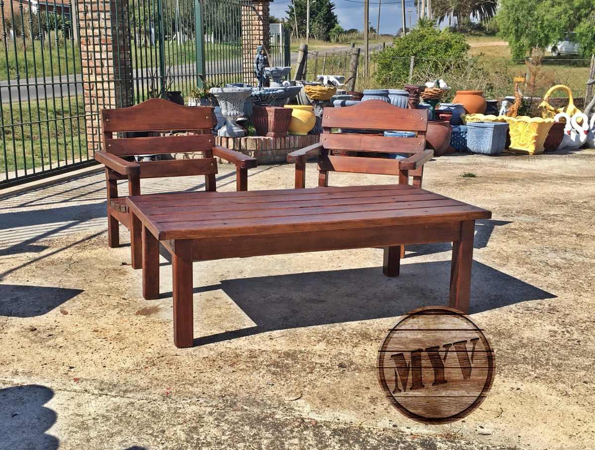juego de jardin sillones mesa madera descanso patio