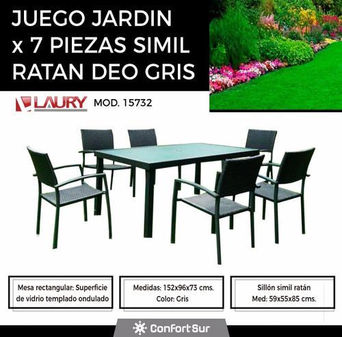 juego de jardin simil ratan laury deo mesa vidrio **10