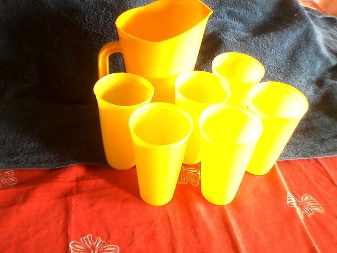 Juego De Jarra Con 6 Vasos Plastico Bs 1 86 En Mercado Libre