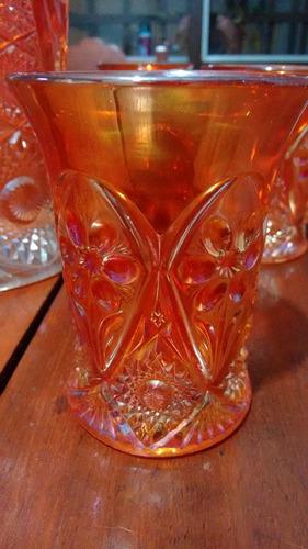 juego de jarra y seis vasos antiguos carnival glass.