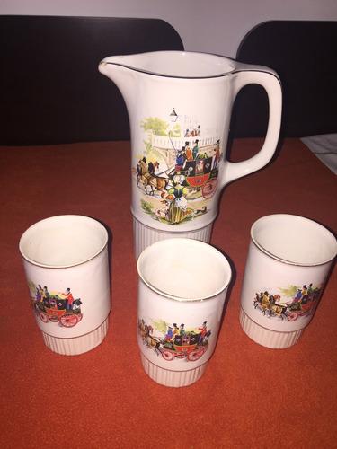 juego de jarra y vasos en cerámica