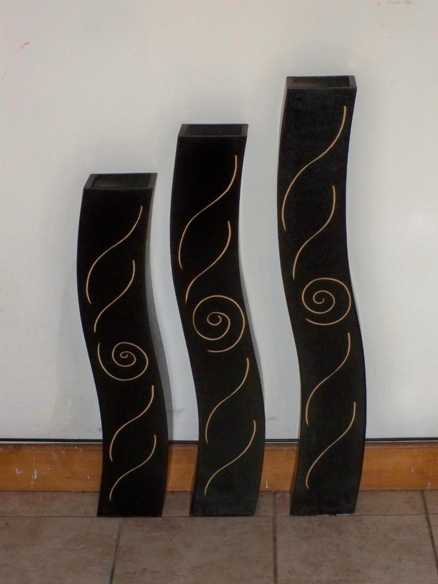Juego de jarrones de madera minimalistas modernos 295 for Adornos decorativos modernos