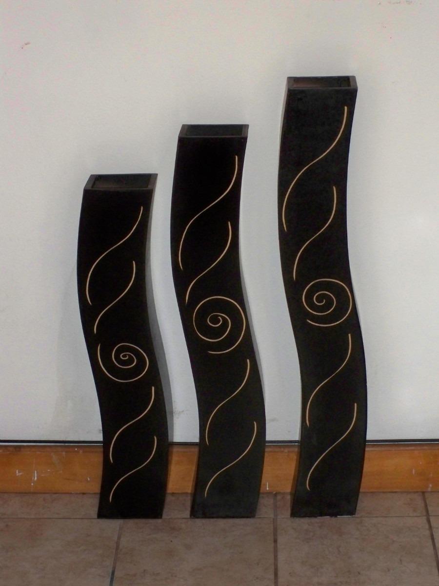 Juego de jarrones de madera minimalistas modernos for Disenos de jarrones