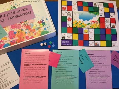 juego de la oca con prendas matemáticas. juegos didácticos