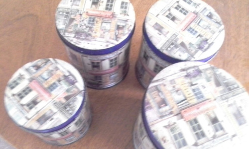 juego de latas  antuiguas  unicas en perfecto estado