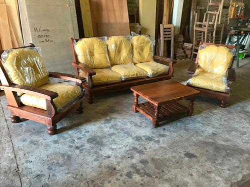 juego de living cebolla sillones de algarrobo