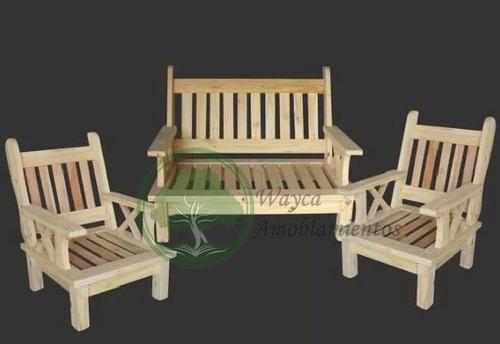 juego de living sillones 2 d un cuerpo + 1 de 2 cuerpos pino