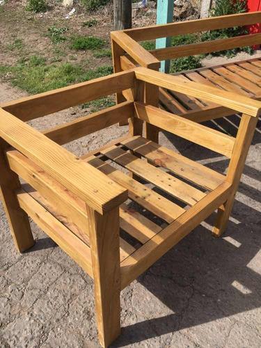 juego de living sillones camastros pino tratado