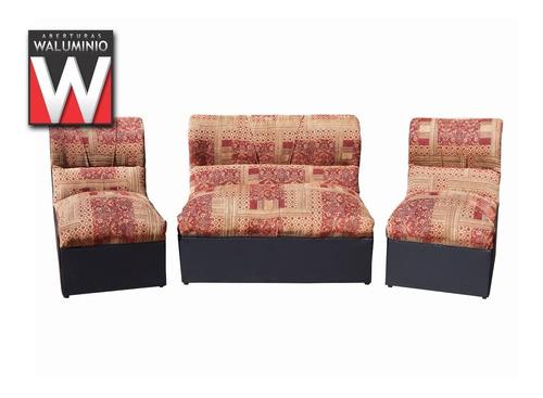 juego de living sillones modulos tela cuerina nuevos economi