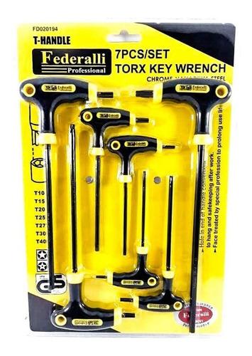 juego de llaves en t torx de seguridad para fuerza 7 piezas