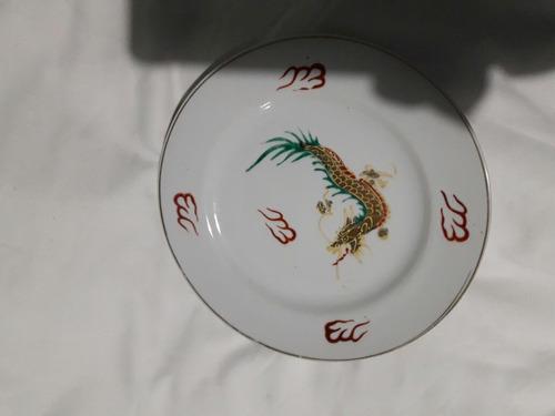 juego de lunch de porcelana. 7 piezas impecable