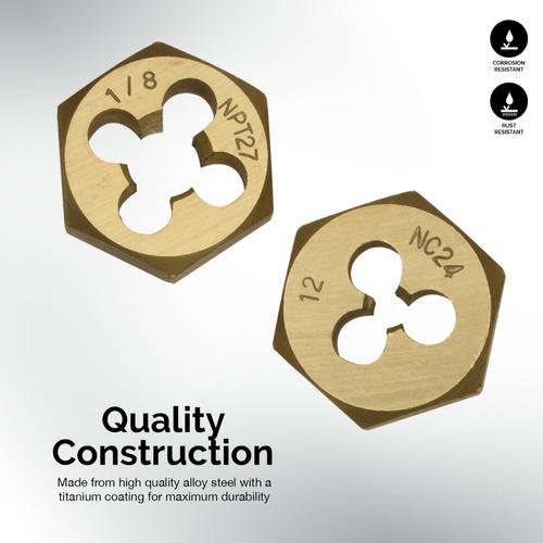 juego de machos y terrajas hexagonales revestimiento titanio