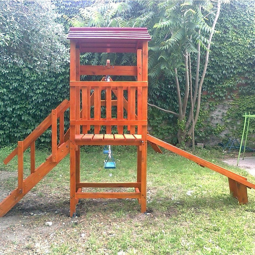juego de madera exterior torre con hamacas