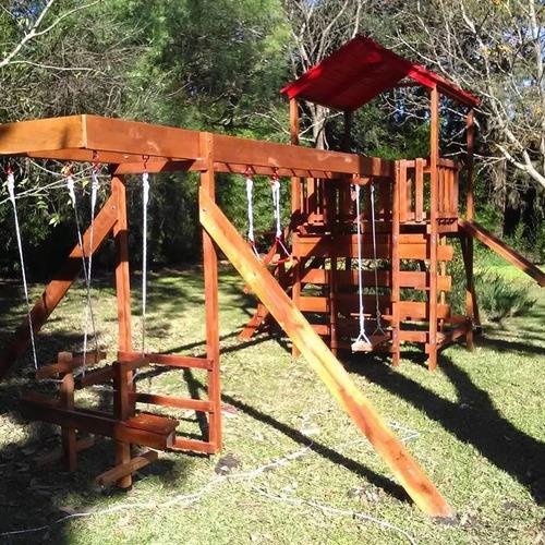 juego de madera exterior torre tobogán pasamano hamacas