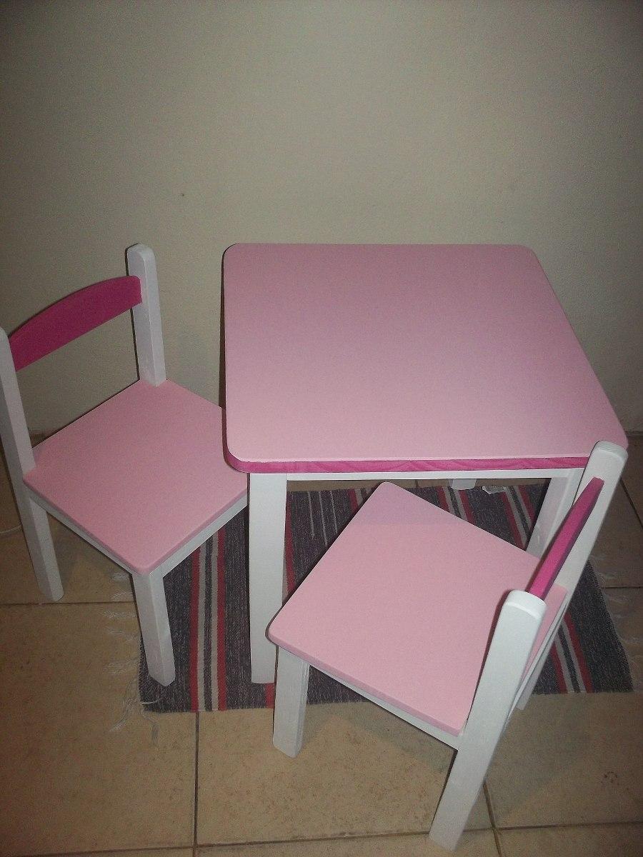 Juego de madera infantil sillas mesa nuevo artesanal for Mesas infantiles precios