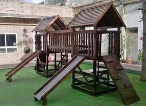 Mangrullo De Madera Para Nenes Con Puente Y Toboganes