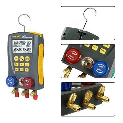 medidor de presi/ón de vac/ío HVAC con clip de prueba y tubo Medidor digital para refrigeraci/ón