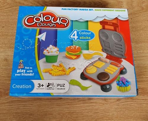 juego de masas set barbacoa colour dough + plato y cubiertos