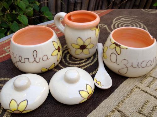 juego de mate azucarera yerbera y cuchara ceramica artesanal