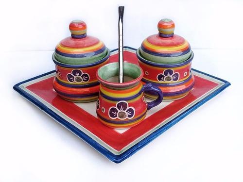 juego de mate con bandeja ceramica artesanal huasimanta