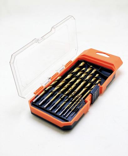 juego de mechas de acero rapido baño titanio set 15 piezas