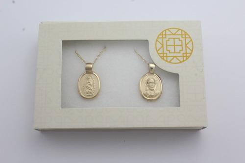 juego de medallas y cadena para boda marelo