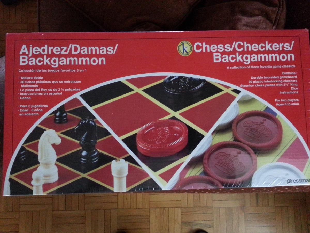 Juego De Mesa 3en1 Backgammon Damas Ajedrez Marca Kreisel Bs