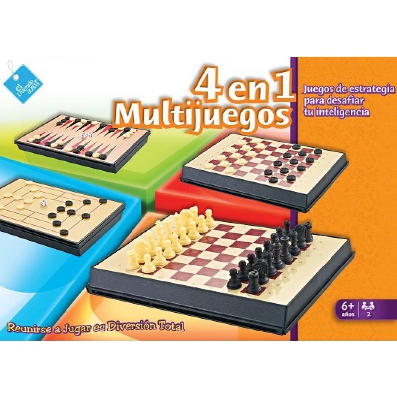 Juego De Mesa 4 En 1 Ajedrez Backgammon Damas Morris Tablero 499