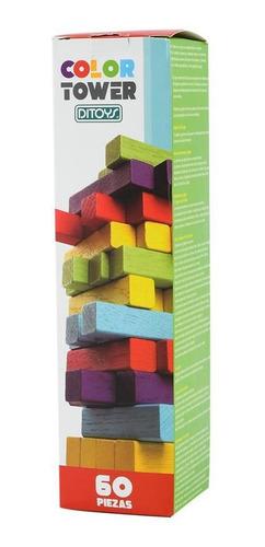 juego de mesa color tower ditoys tipo jenga familiar