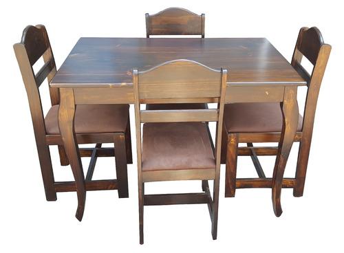 juego de mesa comedor en madera mod. valencia de 4 sillas