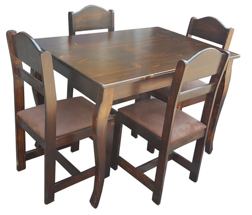 Juego de mesa comedor en madera mod valencia de 4 sillas for Mesa de comedor 4 sillas
