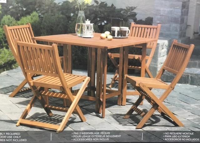 Juego de mesa de madera con 4 sillas para jardin o - Mesa de jardin de madera ...