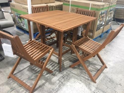 Juego de mesa de madera con 4 sillas para jardin o - Mesa de madera exterior ...