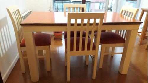 juego de mesa de madera maciza con cuatro sillas