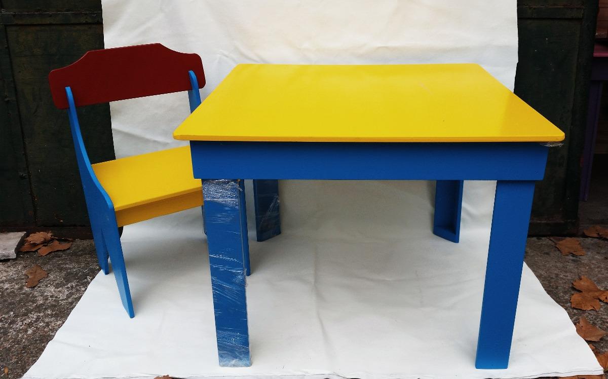 Juego de mesa infantil con dos sillas de madera - Mesa infantil madera ...