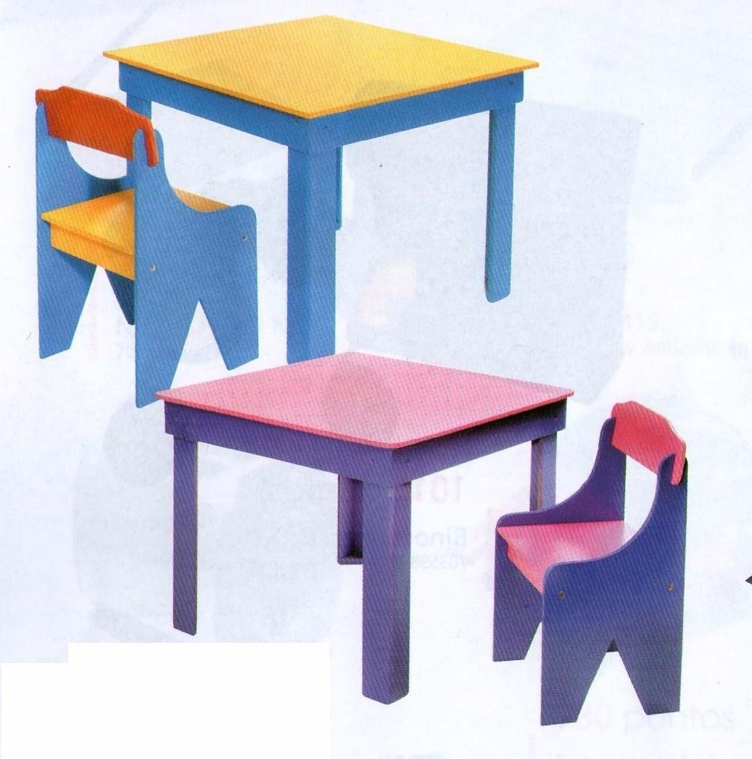 Juego de mesa infantil con dos sillas de madera - Mesa madera infantil ...