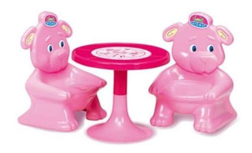 juego de mesa para niños rondi 2 sillas osito plastico