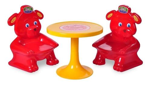 juego de mesa plastico para niños rondi 2 sillas osito