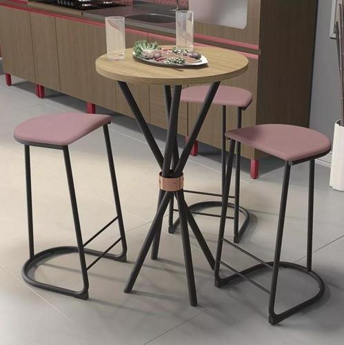juego de mesa redonda 60 cm y 3 banquetas altas li002+