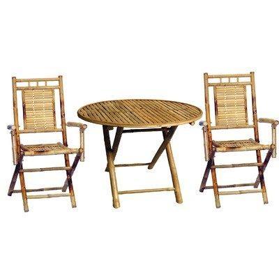 Juego De Mesa Redonda Para Comedor De Bambú, De 3 Piezas, Al ...