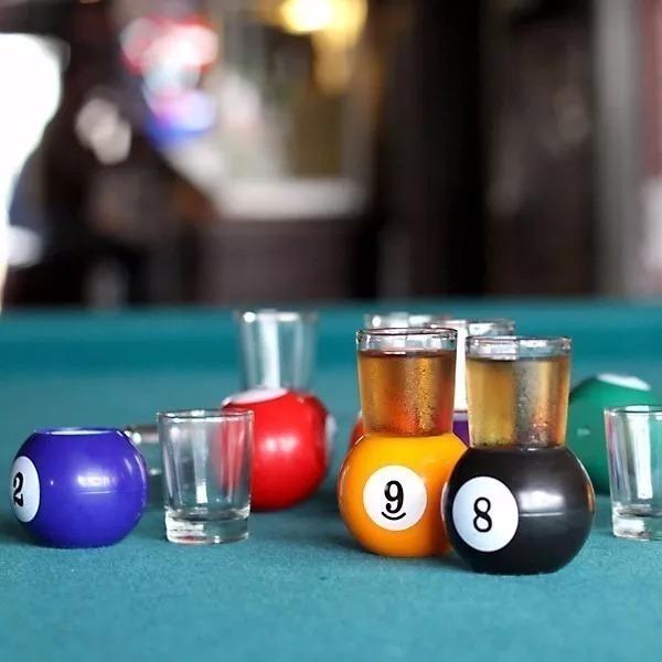 Juego De Mesa X 9 Shots De Tequila Pool Billar Caja Bolas 900