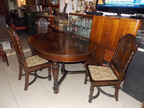 juego de mesa y 6 sillas en nogal  tudor ingles factura euro