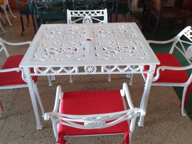 Juego De Mesa Y Silla Fundicion Fiji Aluminio Quilmes Jardin ...