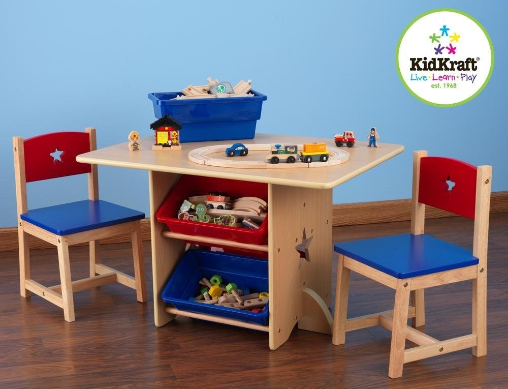 Juego de mesa y sillas con caracteres de estrellas azul for Juego de mesa y sillas
