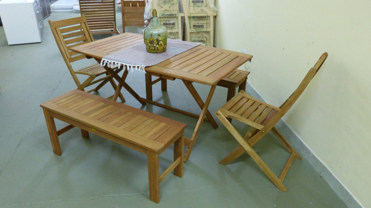 Mesa de madera jardin uac de ahorro vidaxl conjunto de for Conjunto jardin madera