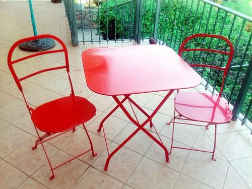 juego de mesa y sillas plegables de hierro, estilo cervecera