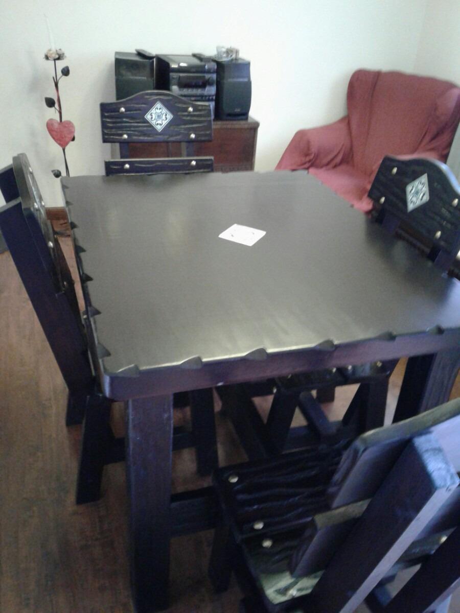 Juego de mesa y sillas rustica para cocina o comedor for Juego de mesa y sillas para cocina