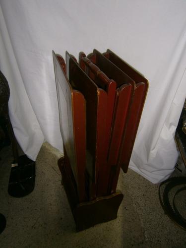 juego de mesas auxiliares x 4 en madera con pinturas de aves