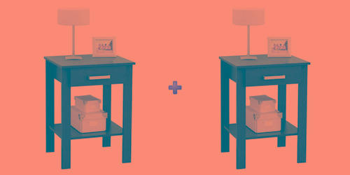 juego de mesas de luz color wengue
